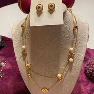 Tory Burch Necklace & Stud Earrings Set